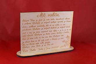 Darčeky pre svadobčanov - Poďakovanie rodičom preglejka 4 - 8908013_