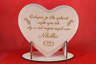 Darčeky pre svadobčanov - Poďakovanie rodičom drevené srdiečko   12 - 8908046_