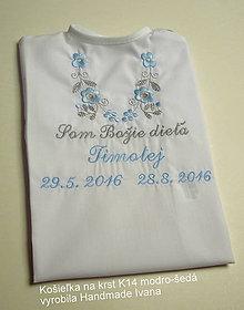Detské oblečenie - Košieľka na krst k14 modro-šedá (Odoslanie do 21 dní) - 8907889_