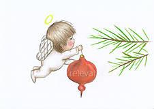 Kresby - Anjelik a vianočná ozdoba - 8907679_
