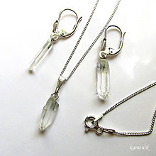 Sady šperkov - Křišťálová stříbrná souprava z krystalů křišťálu s řetízkem - 8910766_