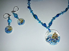 Sady šperkov - Morská búrka. Autorský design - ručne maľované perlete - 8912134_