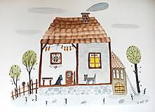 - Chalúpka a psíky - ilustrácia / originál maľba  - 8912023_