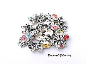 Galantéria - Drevený gombík Zebra - 8910560_