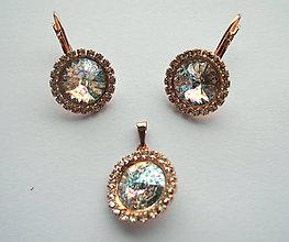 Sady šperkov - Šperky SWAROVSKI set strass biely okrúhly - 8912859_