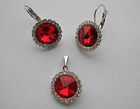 Sady šperkov - Šperky SWAROVSKI set strass okrúhly červený - 8912917_
