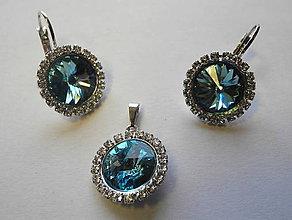 Sady šperkov - Šperky SWAROVSKI set strass okrúhly tyrkysový - 8912955_