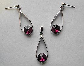 Sady šperkov - Šperky SWAROVSKI set slzy fialové - 8912995_