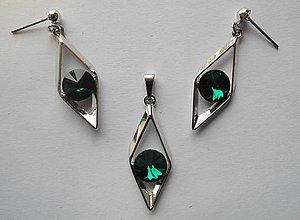Sady šperkov - Šperky SWAROVSKI set kosoštvorec zelený - 8913062_