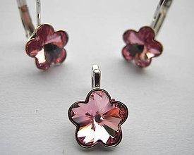 Iné šperky - Šperky SWAROVSKI set kvietky ružové - 8913084_