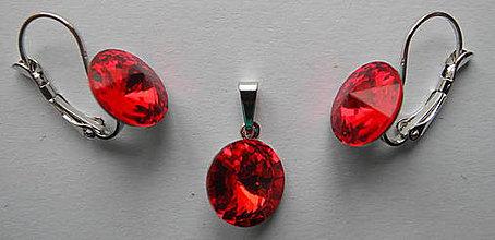 Sady šperkov - Šperky SWAROVSKI set okrúhly červený - 8913120_