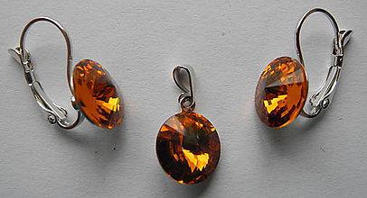Sady šperkov - Šperky SWAROVSKI set okrúhly hnedožltý - 8913174_