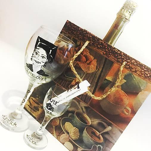 Maľované PROMÓCIA - poháre, karikatura/portrét, motív na želanie