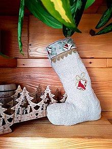 Dekorácie - Vianočná retro čižma z režného plátna - 8912574_