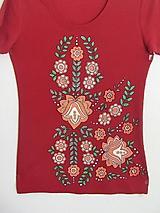 Tričká - Maľované dámske tričko, Kvety II., veľkosť L - 8912270_
