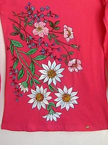 Tričká - Dámske tričko Kvety, veľkosť M - 8912071_
