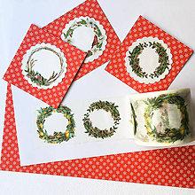 Papier - papierová washi páska Vianočné venčeky (30 mm x 8 m) - 8912047_