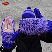 Rukavice - háčkované rukavice, modrofialové palčáky - 8913619_