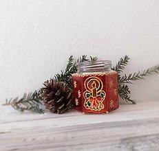 Svietidlá a sviečky - Vianočný ručne maľovaný svietnik - 8910979_