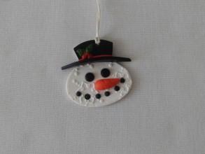 Dekorácie - snehuliak v klobúku vianočná ozdoba - 8911795_