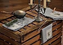 Úžitkový textil - ľanový obrúsok s vreckom na príbor - 8912346_