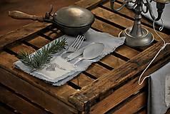 Úžitkový textil - ľanový obrúsok s vreckom na príbor - 8912350_