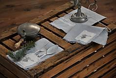 Úžitkový textil - ľanový obrúsok s vreckom na príbor - 8912355_