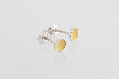 Náušnice - Náušnice polguličky smaltované (žlté) - 8914477_