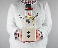 Dekorácie - Drevený snehuliačik - 8914013_