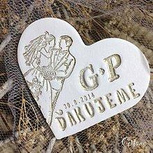Darčeky pre svadobčanov - Veľké keramické srdiečka s poďakovaním - 8910224_