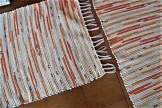 Úžitkový textil - Tkané koberce bielo-oranžovo-bordové - 8913027_