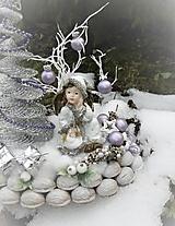 Dekorácie - Zimná dekorácia s anjelikom v kožúšku - 8917766_