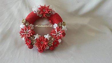 Dekorácie - Vianočný venček - červeno-zlato-biely - 8915805_
