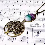Náhrdelníky - Bronze Tree of Life Necklace & Violet-Green Agate / Náhrdelník strom života s fialovo-zeleným achátom, bronz - 8915855_