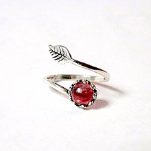 Prstene - Simple Leaf Silver Gemstone Ring Ag925 / Strieborný prsteň s minerálom (Tourmaline Rubelite / Turmalín rubelit) - 8915212_