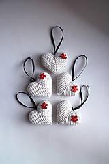 Vianočné ozdoby   Srdiečka na zavesenie   veľké   Béžová   Svetlá   červená   sada 5ks