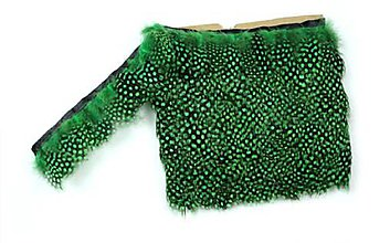 Suroviny - 56./6/ Perlička zelená, (10 cm kus stuhy s pierkami) - 8917821_