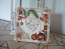 Obrázky - Decoupage obrázok Vianočné srdce - 8916424_