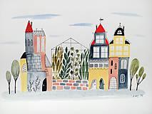 - Mesto 31 skleník - ilustrácia / originál maľba  - 8915194_