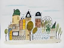 - Mesto 32 skleník - ilustrácia obraz/ originál maľba - 8915207_