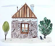 - Mesto chalupa  - ilustrácia obraz/ originál maľba - 8917863_