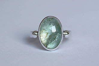 Prstene - Strieborný minimalistický prsteň s akvamarínom - Aqua - 8914821_