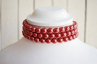 Iné doplnky - Perličkový náhrdelník (Červená) - 8915949_