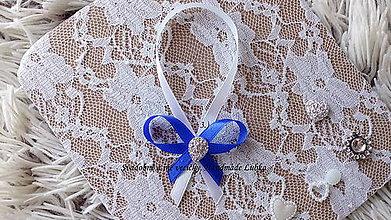 Darčeky pre svadobčanov - Stužky na fľaše / víno  - kráľovská modrá - 8915608_
