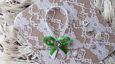 Darčeky pre svadobčanov - Stužky na fľaše / víno  - zelená - 8915776_