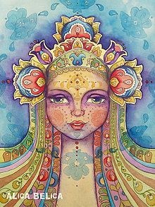Obrazy - Dievča a všehomír Fine Art Print, S-M, papier/doska - 8915856_