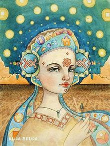 Obrazy - Dievča s kľúčikom Fine Art Print, S-XL, papier/doska - 8916107_