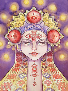 Obrazy - Dievča, všehomír a oheň Fine Art Print, S-XL, papier/doska - 8916308_
