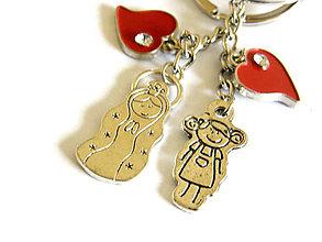 Kľúčenky - mama a dcera - srdiecka - klucenka - 8917394_