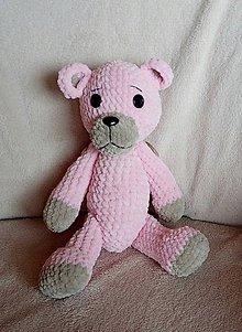 Hračky - Hačkovaný medvedík ružový - 8915719_